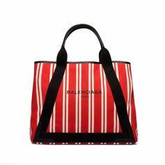BALENCIAGA Navy Striped Canvas Cabas M Navy Handbag