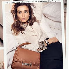 Effortless and stunning style: beautiful Andreea Diaconu and the new Tod's Double T bag from the Spring/Summer 2017 Campaign. #TodsJournal #TodsDoubleT #SS17