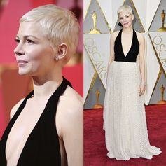 Michelle Williams, nominated for Best Actress in a Supporting Role, wearing a Louis Vuitton gown, shoes and high jewelry bracelet and earrings, to the 89th Annual Academy Awards. Her custom gown is made with black silk velvet and tulle embroidered with pearls, crystals and studs.