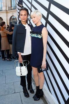 Alicia Vikander and Michelle Williams wearing Louis Vuitton during Paris Fashion Week 2016
