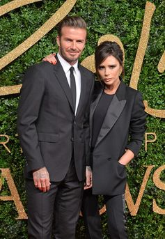 David Beckham and Victoria Beckham attend the British Fashion Awards 2015 at London Coliseum on November 23, 2015 in London, England.