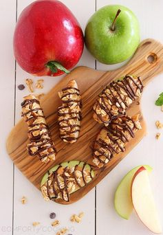 Chocolate-Peanut Butter Granola Apple Bites - A great after school snack!