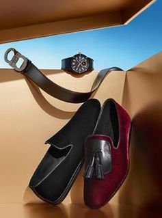 From embossed cuff links to printed leather accessories to one very dapper pair of velvet loafers, the season's fineries for him. Discover more men's gifts from Ferragamo Holiday holiday.ferragamo.com/