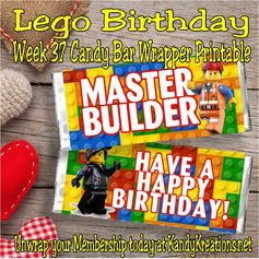 This week's candy bar is perfect for anyone who loves Legos.  Personalize it with your favorite Master Builder's name or just give as it is.