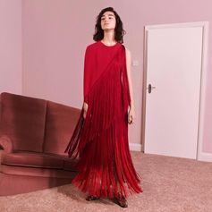 New season! Make moves in floor-length gowns embellished with fun fringing in clashing shades of pink and red.  Pre-order the first pieces from the new Autumn 2017 collection now at #StellaMcCartney.com