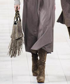 Dainty in Grey Ralph Lauren proves that fringe can be delicate with this petite ash gray handbag.