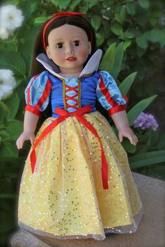 Snow White princess dress for American Girl. Available at www.harmonyclubdolls.com