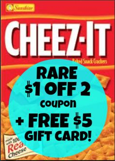 RARE:  $1 off 2 Cheez-It Crackers + FREE $5 Walmart Gift Card Offer!