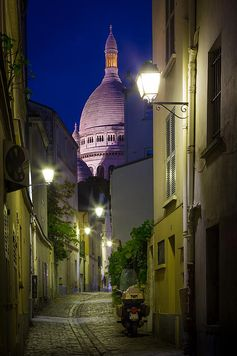 **Montmartre Street And Sacre Coeur, Paris