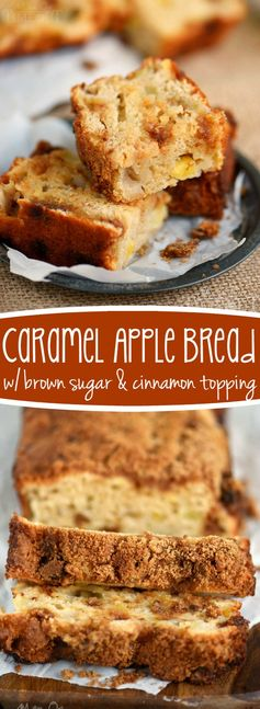 This easy Caramel Apple Quick Bread recipe is what fall dreams are made of! Topped with a brown sugar and cinnamon topping - this bread is loaded with caramel apple flavor! | eBay