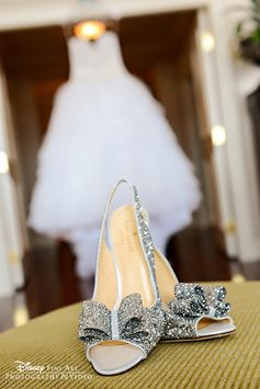 Glittering bridal glass slippers