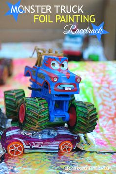 Monster Truck Foil Painting Racetrack | Crayon Box Chronicles.