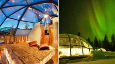 Kakslauttanen Arctic Resort offers visitors a rare opportunity to sleep under the Northen Lights (aurora borealis) by sleeping in thermal glass igloos.