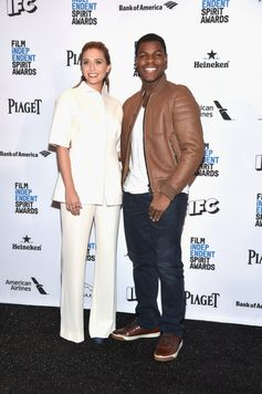 Hosts Elizabeth Olsen and John Boyega attend the 31st Film Independent Spirit Awards Nominations Press Conference at W Hollywood on November 24, 2015 in Hollywood, California.
