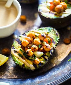 Grilled Avocado Stuffed With Chickpeas and Tahini
