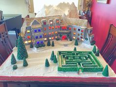 This gingerbread house inspired by the hotel from The Shining is highly detailed.