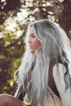 Ethereal silver/gray hair.