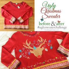 Glitzy Reindeer Ugly Sweater at OneKriegerChick.com #uglysweaterchallenge