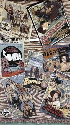"This throw is a collage of posters of Martin and Osa's world famous movies. Which includes Across the World with Martin and Osa Johnson, Simba, Baboona, Borneo, Congorilla, I Married Adventure, and Trailing African Wild Animals. The measurements of the throws is 70"" X 481/2"" with a fringe of inch. It is made of 100% cotton and is machine washable. The price of this throw is $64.00."