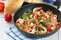 Greek Shrimp Scampi is to die for! Get the recipe here: http://betterrving.com/greek-shrimp-scampi/