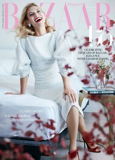 Actress Claire Danes graces the February cover of Harper's Bazaar UK in a ruched silk dress from the new Ferragamo Spring Summer 2017 collection.