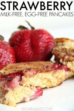 Strawberry whole wheat milk-free, egg-free pancake recipe.  This is great for cooking with kids!