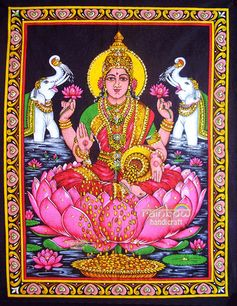 hindu goddess of prosperity laxmi lakshmi wall hanging cotton sequin tapestry Indian ethnic art religious handmade indian home decor via Etsy