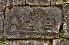 Inscription on the stones of the surrounding wall of Demir Baba Teke, 16th-century Alevi mausoleum near the village of Sveshtari, in northeastern Bulgaria.