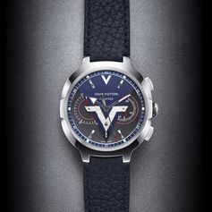 """The Louis Vuitton Voyager Watch collection is inspired by the brands signature """"V"""". It is the ultimate contemporary tool for the globetrotter who travels from city to city, time zone to time zone. This Swiss made contemporary travel watch features a Chronograph function, and is available in a leather or steel band."""
