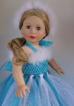 'Frozen' inspired ice princess dress that fits American Girl. Worn by Harmony Club doll, Cadence Rose. www.harmonyclubdolls.com