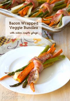 A Spicy Perspective's Bacon Wrapped Roasted Vegetables with Maple Glaze - These would make a great side for the holidays!