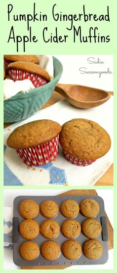 Need a Thanksgiving breakfast idea? These Pumpkin gingerbread apple cider muffins are PERFECT for that...and absolutely delicious to make. A little bit of autumn in every bite. #SadieSeasongoods