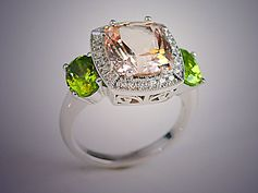 14K White Gold Fashion Ring with Clay Zava Pillow Shaped Precious Topaz and Oval Peridots with Diamonds
