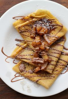 Pumpkin Crepes with Beer and Cinnamon Apples and a Chocolate Drizzle from Joanne Eats Well With Others
