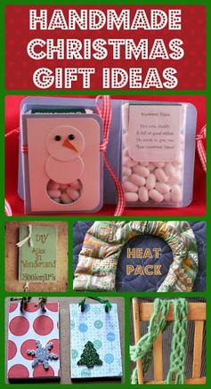 Handmade Christmas gift ideas: no knit scarf, tic tac snowman kisses, unique bookmark, heat pack, holiday notepads and more.