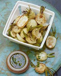Roasted Baby Turnips with Parsley-Mustard Vinaigrette Recipe on Food & Wine - Roasting them brings out their sweetness. This dish can be served hot or cold.