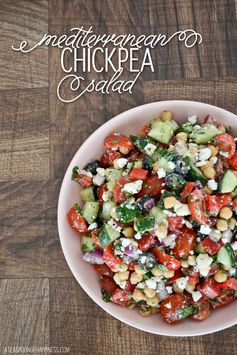 This quick and easy #Mediterranean #Chickpea #Salad would be PERFECT served alongside a hearty #shrimp dish. Don't ya think?!
