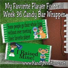 Celebrate your favorite player with a fun candy bar wrapper printable.  This is week 36 of the Candy bar wrapper membership club.