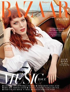 A mesmerizing Karen Elson for the latest Harper's Bazaar Singapore cover story wearing a Fendi S/S16 total look.