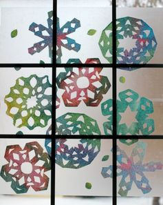 Simple Rainbow Snowflake Window Art. {Twodaloo}