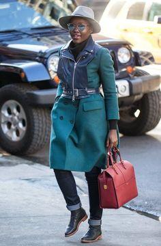 A stylish Lupita Nyong'o arrives at The Public Theatre.