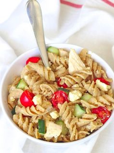 Hummus Pasta Salad - This creamy pasta dish uses 6 ingredients and is ready in 20 minutes.