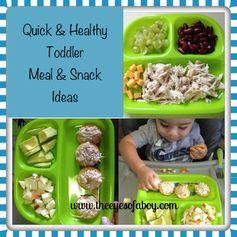 Quick & Healthy Toddler Meal & Snack Ideas - The Eyes of a Boy Yummy! Going to get tbutts one of those plates. Will help so much!