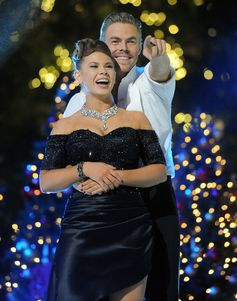 Bindi Irwin and Derek Hough hug at ABC's 'Dancing with the Stars' Season Finale.