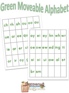 Green Moveable Alphabet Blends to go with moveable alphabet- spelling