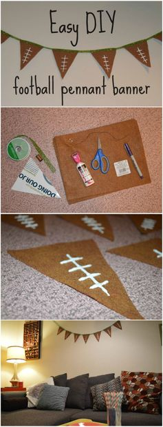 Easy DIY Football Pennant Banner, perfect for the Super Bowl! So easy the kids can help!