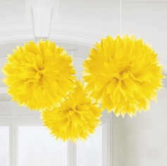 Tissue Poms - Yellow