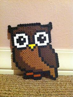 Perler Beads - Owl by Sophia S. ***PLEASE GIVE ME CREDIT ON THIS PIN!!!!!!!!!***