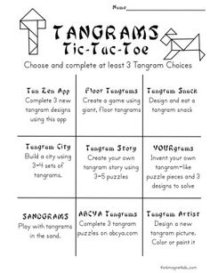Tangram challenges and variations