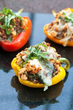 Turkey and Quinoa Stuffed Peppers by spachethespatula.com - Italian seasoning and a little melted mozzarella cheese for added yum!
